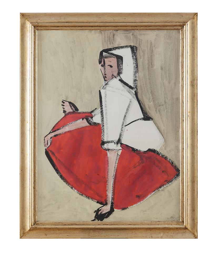 Woman in dress (Donna in costume),1955 by Maria Lai